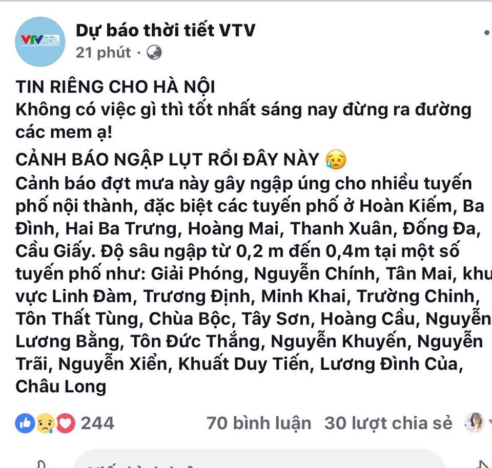 facebook-dua-tin-ha-noi-ngap-nuoc-nhieu-tuyen-duong