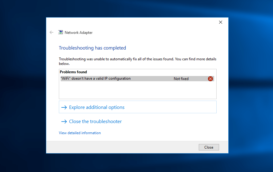 3 cách khắc phục lỗi Wifi doesn't have a valid ip configuration trên Win 10 9